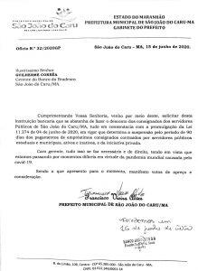 São João do Caru-Prefeito Xixico solicita ao Banco Bradesco a Suspensão dos Repasses dos Empréstimos Consignados dos Servidores Públicos do Município.