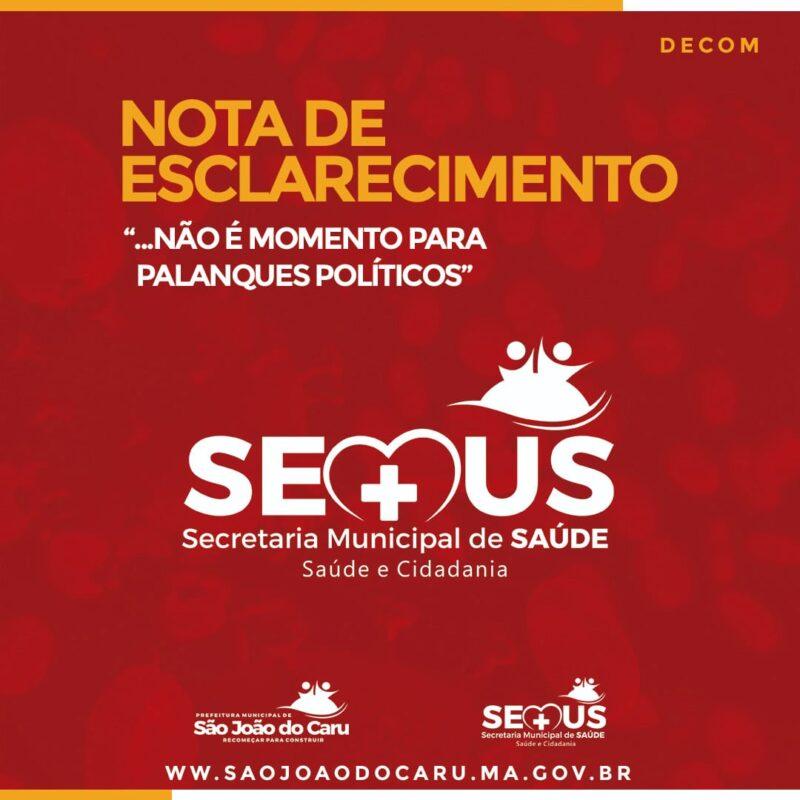 Secretaria de Saúde de São João do Caru- Nota de Esclarecimento