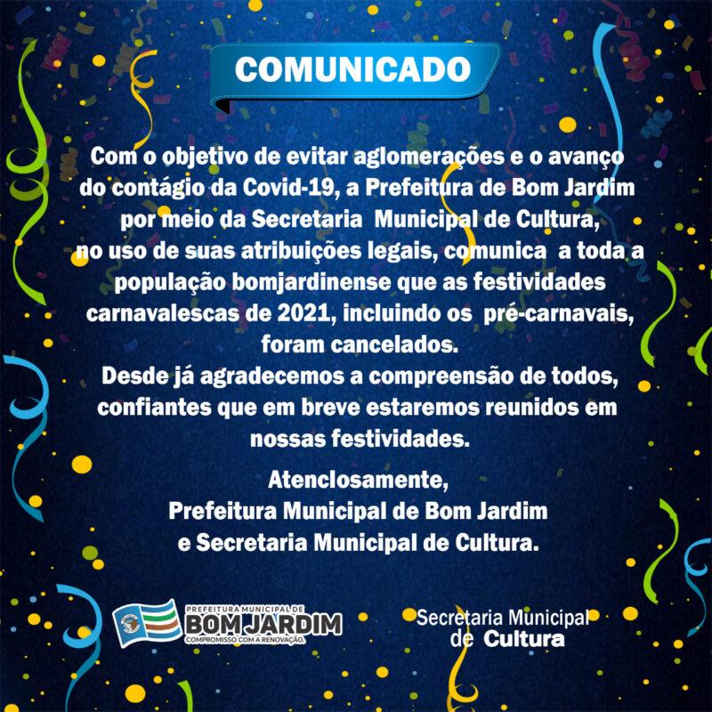 Prefeitura anuncia o cancelamento do Carnaval em Bom Jardim