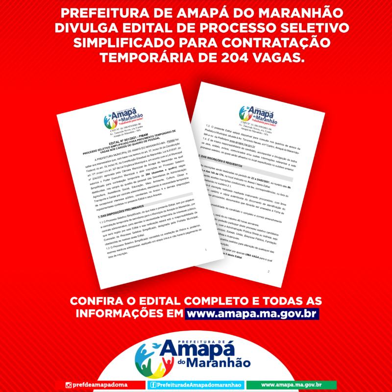 Amapá do Maranhão : Prefeitura Divulga Edital de Processo Seletivo Simplificado Para Contratação Temporária de 204 vagas